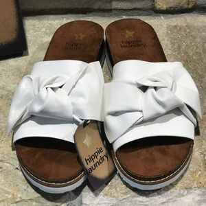 NWT With Box Hippie Laundry White Bow Slides 7